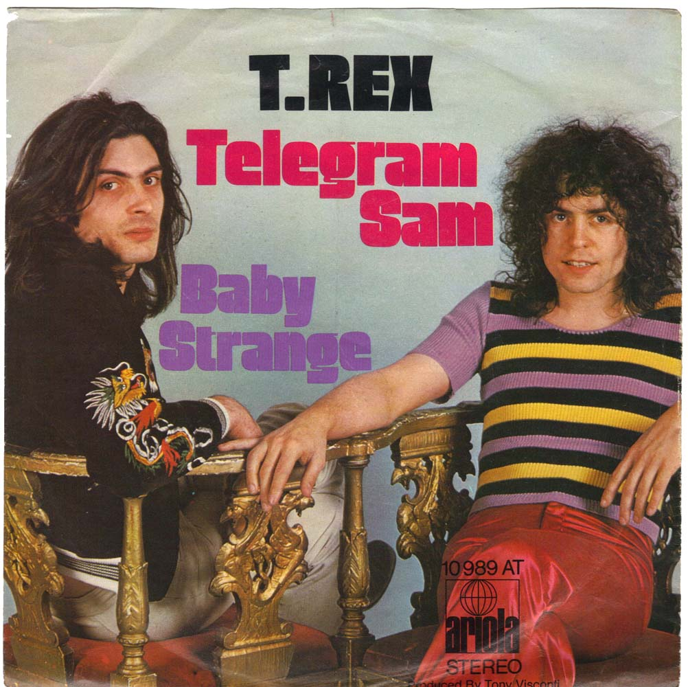 MARC BOLAN AND T.REX - Telegram Sam, 7 inch vinyl single in German Picture Sleeve.