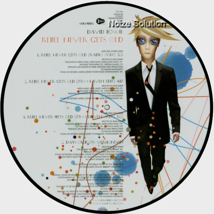 DAVID BOWIE - Rebel Never Gets Old, 12 inch vinyl Picture Disc Record side 2.