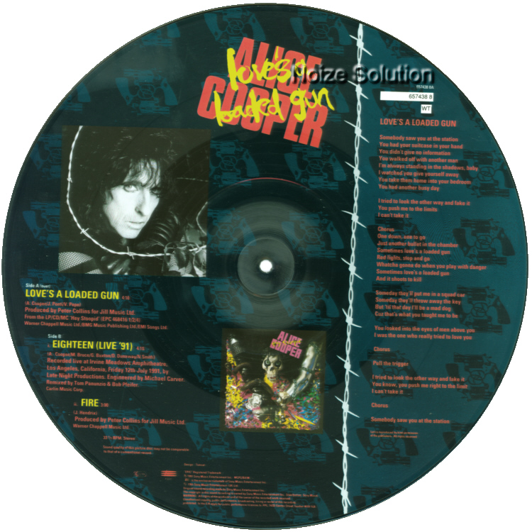 Alice Cooper Love's A Loaded Gun 12 inch vinyl Picture Disc Record Side 2 AliceCooper.