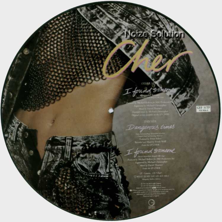 Cher I Found Someone 12 INCH VINYL PICTURE DISC Record Side 2.