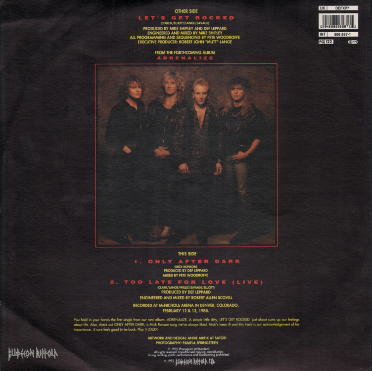 Def Leppard - Let's Get Rocked 12 inch Sleeve Front.
