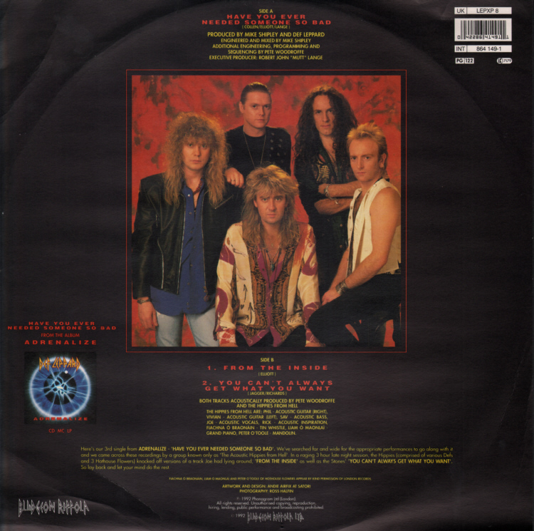Def Leppard (Vivian Campbell)- Have You Ever Needed Someone So Bad 12 inch Sleeve Front.