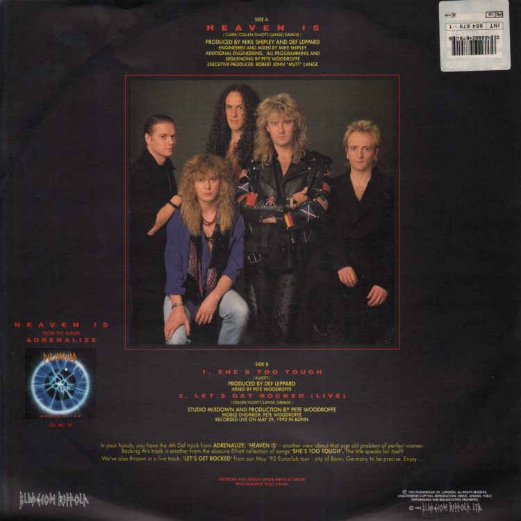 Def Leppard (Joe Elliot)- Heaven Is 12 inch Sleeve Front.