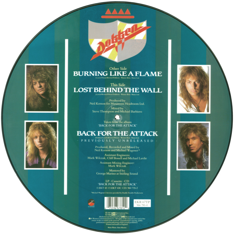 Dokken � Burning Like A Flame, 12 inch vinyl Picture Disc record Side 2.