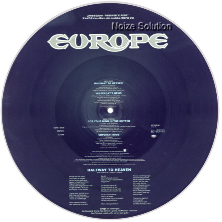 Europe – Halfway To Heaven, 12 inch vinyl Picture Disc record Side 2.