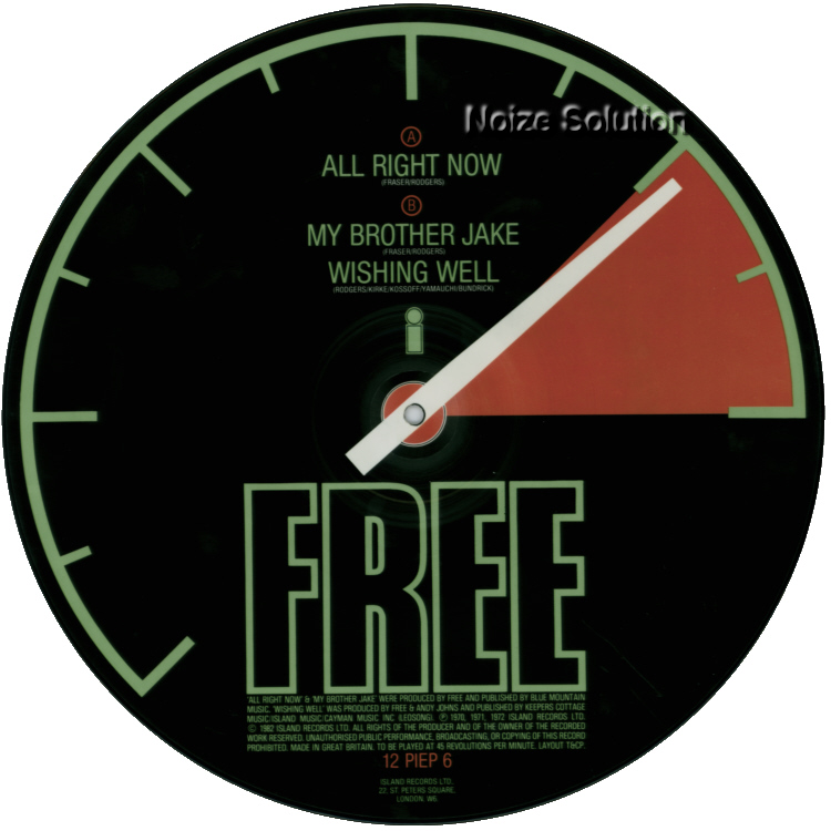 Free - All Right Now - 12 inch Vinyl interview picture disc side 1.