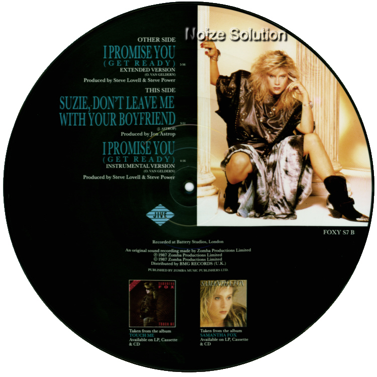 Sam Samantha Fox - I Promise You, 12 inch vinyl picture disc single side 2.