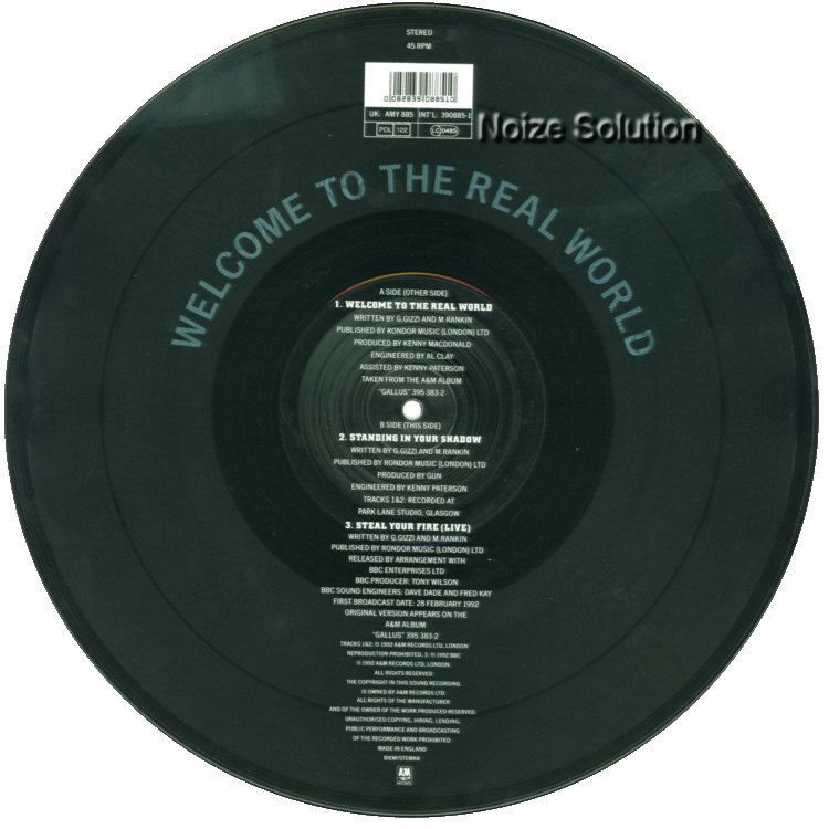 Gun – Welcome To The Real World, 12 inch vinyl Picture Disc record Side 2.