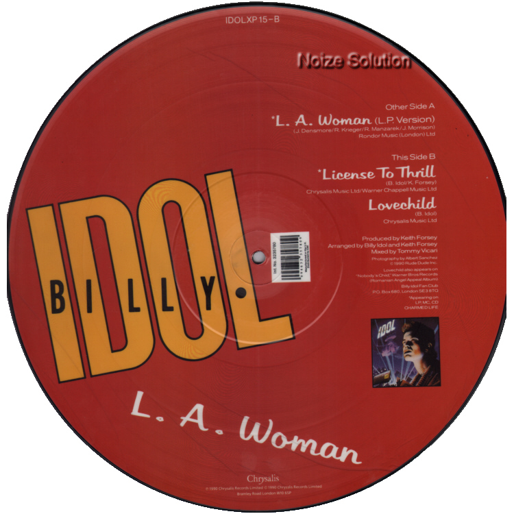 Billy Idol - LA Woman vinyl 12 inch Picture Disc Record Side 2.