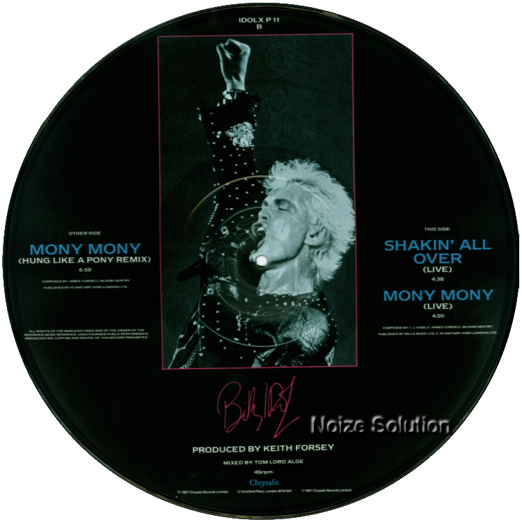 Billy Idol - Mony Mony 12 inch vinyl Picture Disc Record Side 2 BillyIdol.