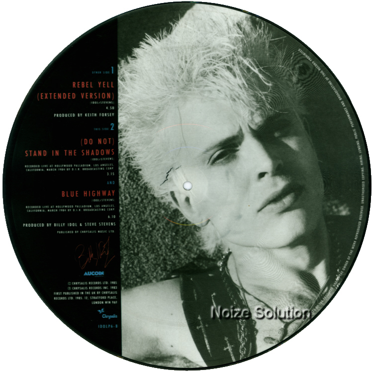 Billy Idol - Rebel Yell 12 inch vinyl Picture Disc Record Side 2 BillyIdol.