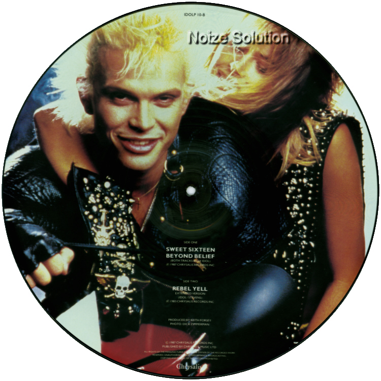 Billy Idol - Sweet Sixteen 16 vinyl 12 inch Picture Disc Record Side 2.