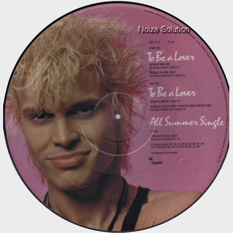 Billy Idol - To Be A Lover vinyl 12 inch Picture Disc Record Side 2.