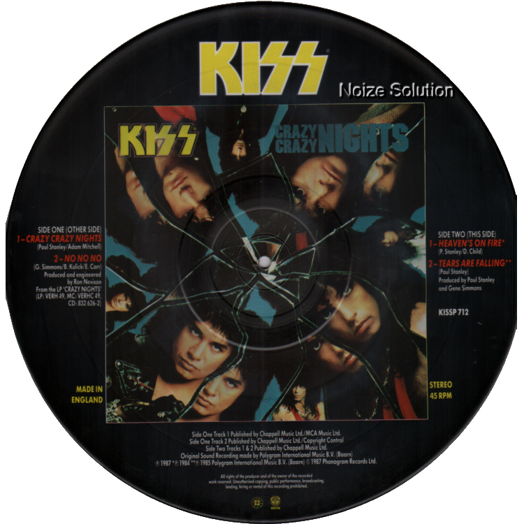 KISS - Crazy Crazy Nights, 12 inch vinyl Picture Disc record Side 2.