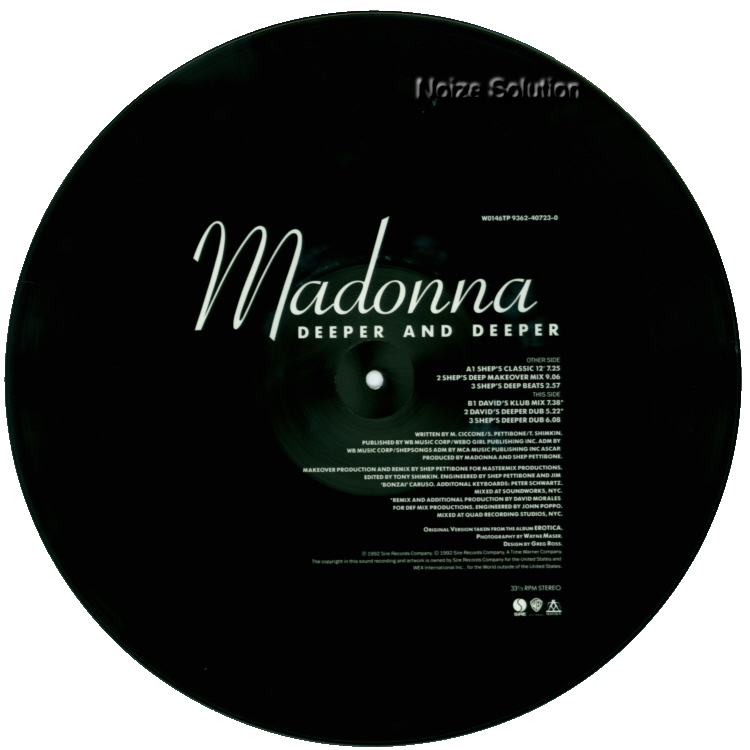 Madonna - Deeper And Deeper vinyl 12 inch Picture Disc Record Side 2 MadonnaMadonna.