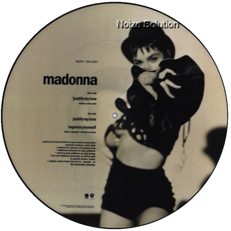 Madonna - Justify My Love vinyl 12 inch Picture Disc Record Side 2 MadonnaMadonna.