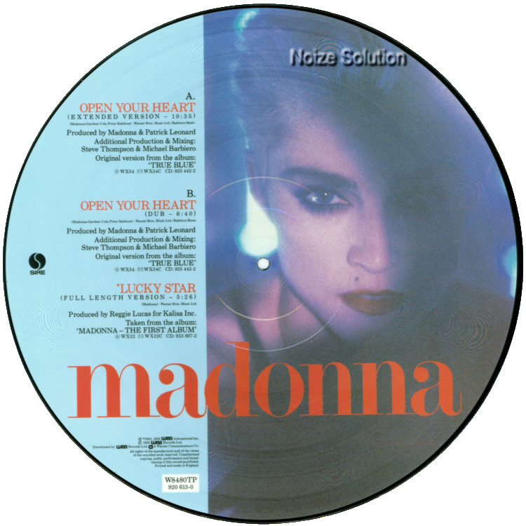 Madonna Open Your Heart 12 inch vinyl Picture Disc Record Side 2 MadonnaMadonna.