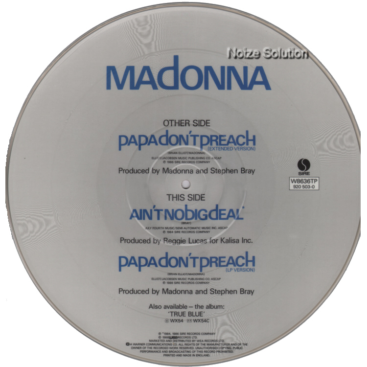 Madonna - Papa Don't Preach vinyl 12 inch Picture Disc Record Side 2.