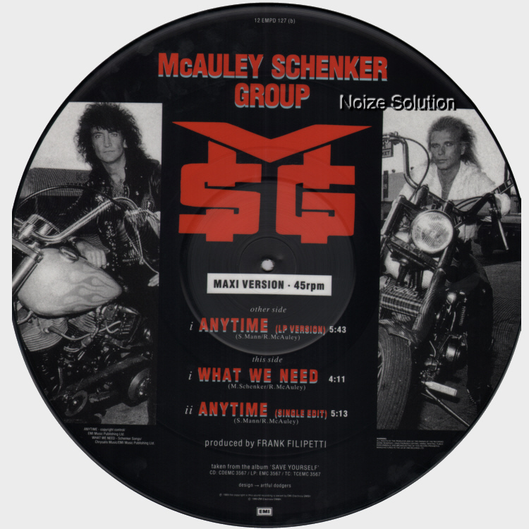McAuley Schenker Group - Anytime 12 inch vinyl Picture Disc side 2. McAULEY SCHENKER GROUP / ANYTIME. UK issued 12 inch vinyl Picture Disc single with