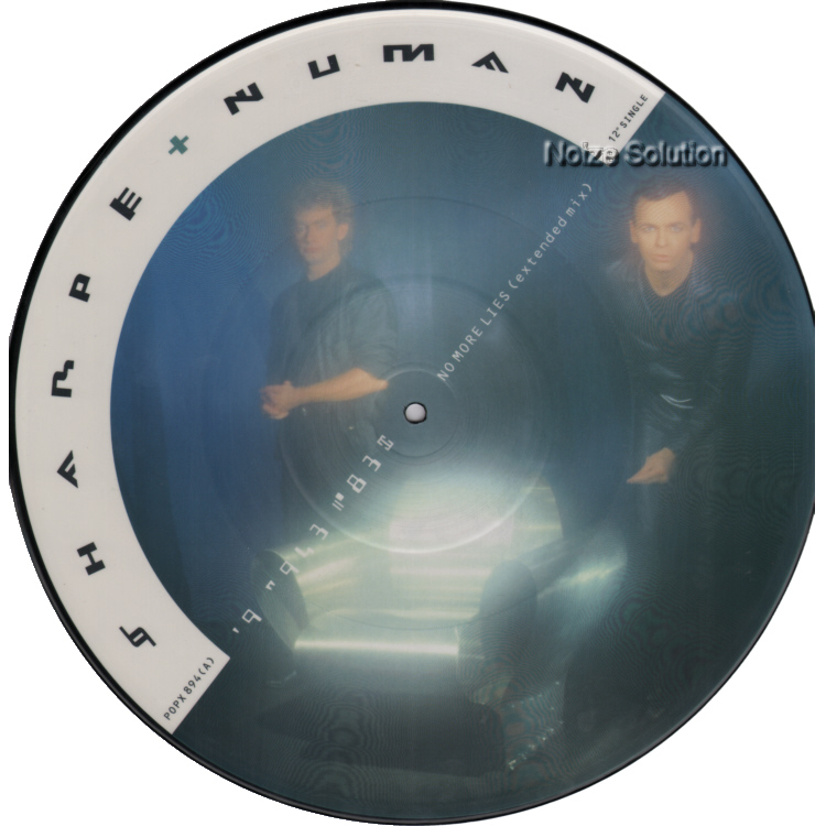 Sharpe and Numan - No More Lies vinyl 12 inch Picture Disc Record Side 1 garynuman sharpeandnuman.