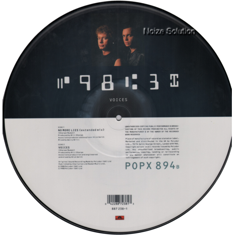 Sharpe and Numan - No More Lies vinyl 12 inch Picture Disc Record Side 2.