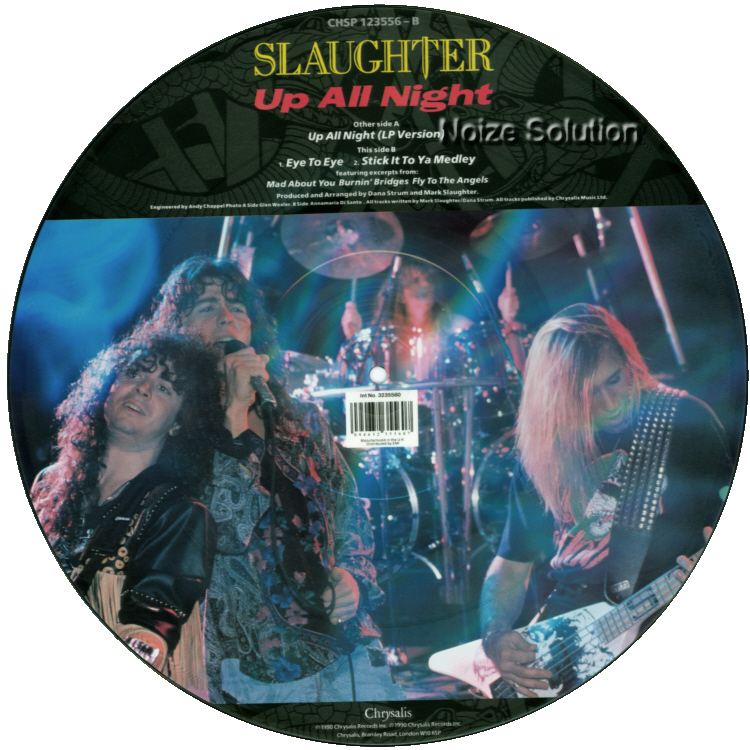 Slaughter - Up All Night vinyl 12 inch Picture Disc Record Side 2 SlaughterSlaughter.