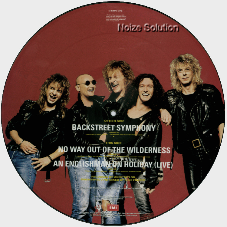 Thunder Back Street Symphony 12 inch vinyl Picture Disc Record Side 2.