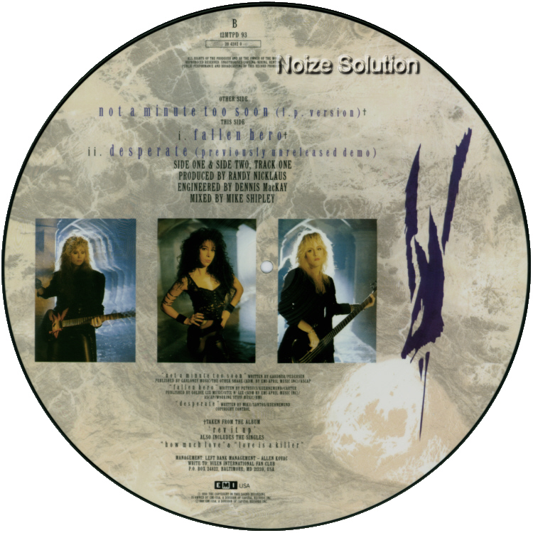 Vixen - Not A Minute Too Soon vinyl 12 inch Picture Disc Record Side 2 VixenVixen.