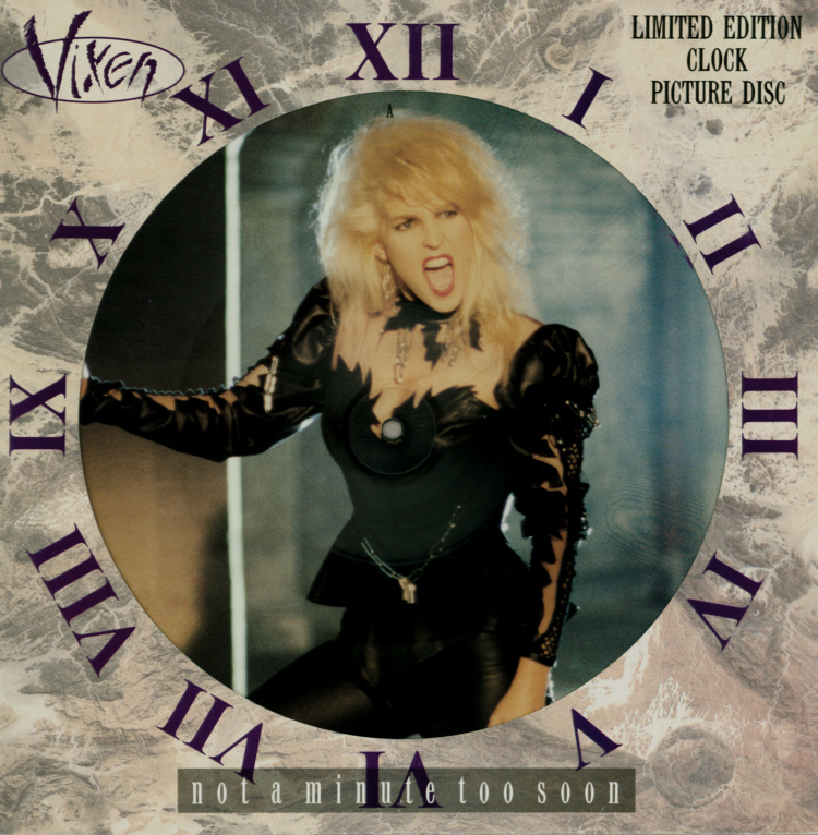 Vixen - Not A Minute Too Soon 12 inch Die-Cut Sleeve Front.