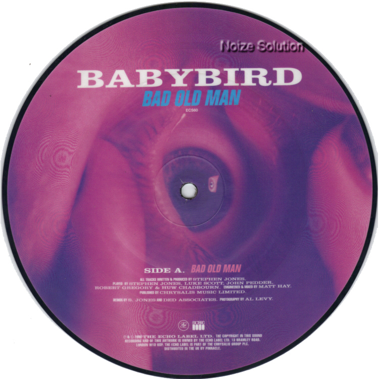 Babybird Bad Old Man 7 inch vinyl Picture Disc Record Side 1.