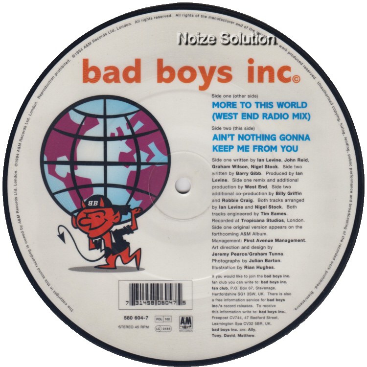 bad Boys inc - More To This World 7 inch vinyl Picture Disc Record Side 2 BadBoysinc.