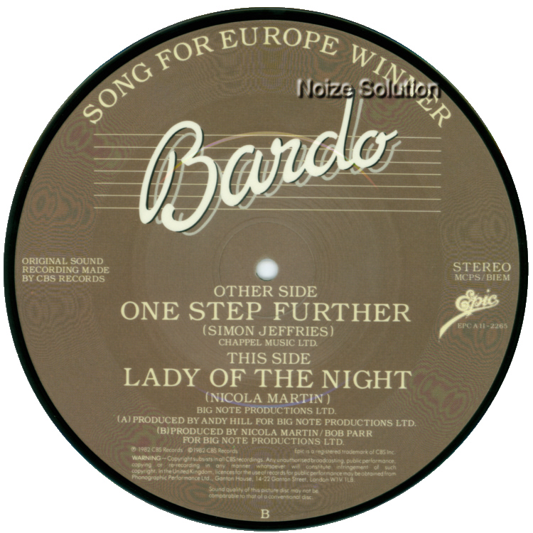 Bardo One Step Further 7 inch vinyl Picture Disc Record Side 2.
