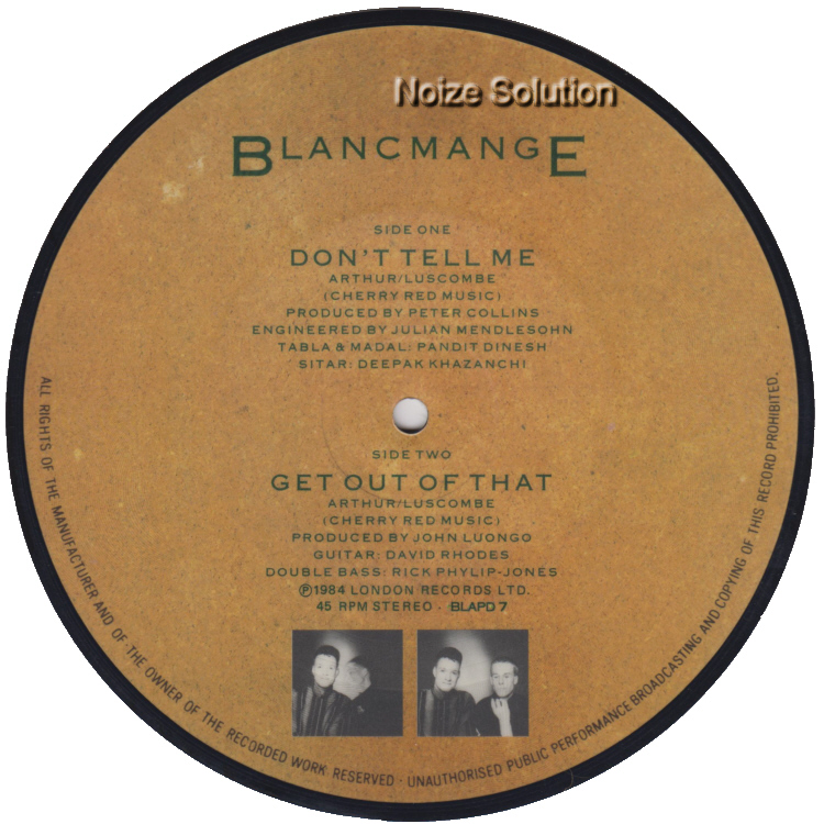 Blancmange - Don't Tell Me 7 inch vinyl Picture Disc Record Side 2 BlancmangeBlancmange.