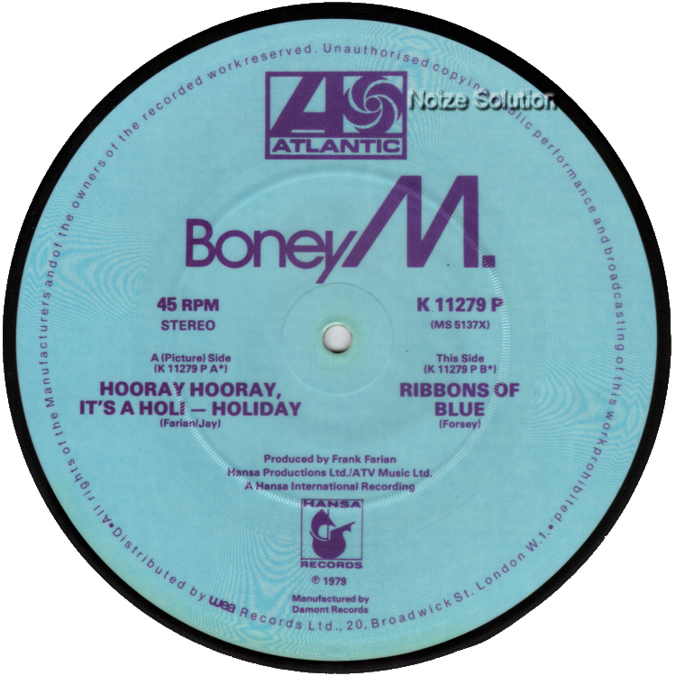 Boney M Hooray Hooray It's A Holi Holiday 7 inch vinyl Picture Disc Record Side 2 BoneyM.