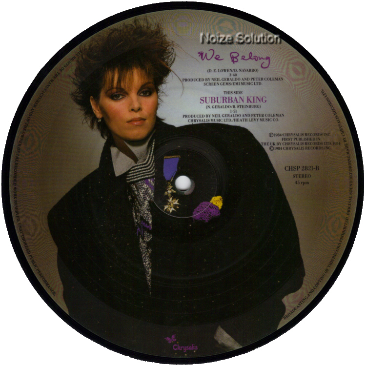 Pat Benatar - We Belong, 7 inch vinyl Picture Disc record Side 2.