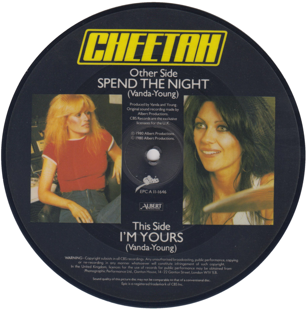 Cheetah - Spend The Night 7 inch vinyl Picture Disc Record Side 2 CheetahCheetah.