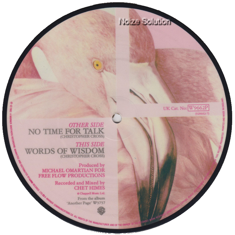 Christopher Cross - No Time For Talk 7 inch vinyl Picture Disc Record Side 2 ChristopherCross.