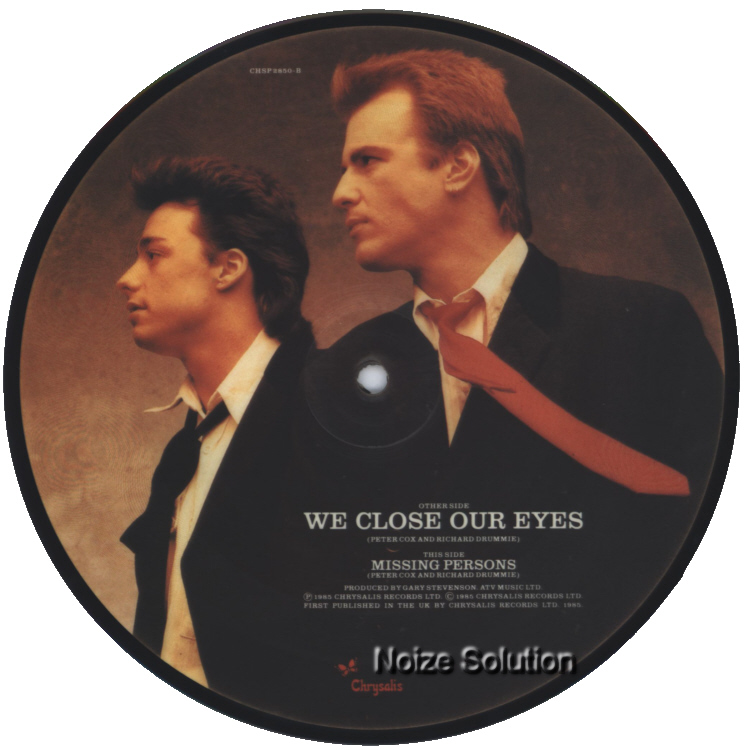 Go West � We Close Our Eyes, 7 inch vinyl Picture Disc record Side 2.