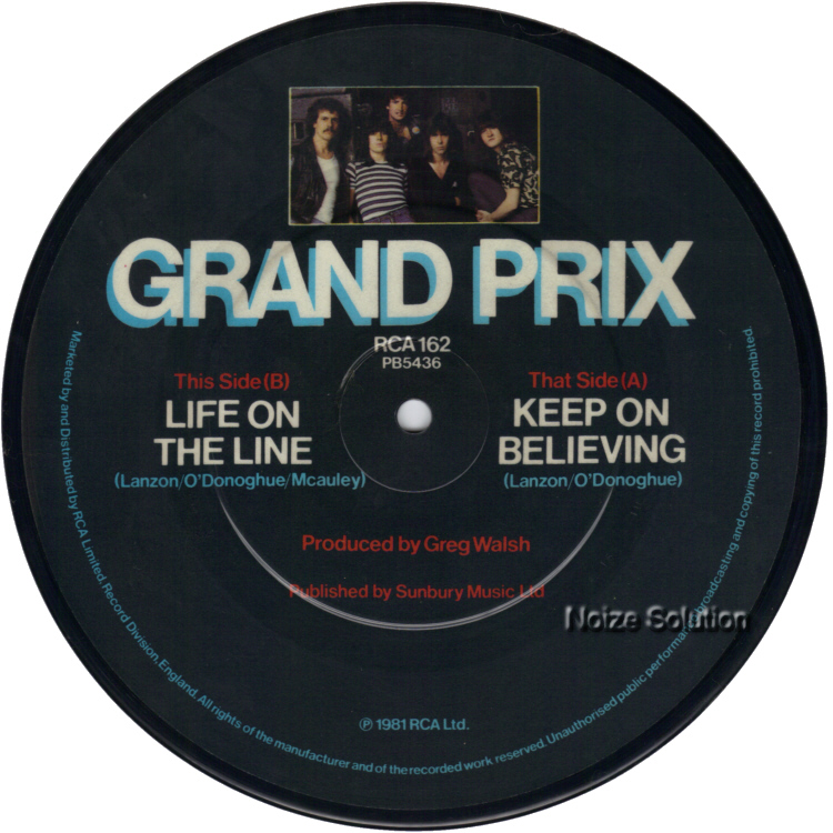 Grand Prix - Keep On Believing 7 inch vinyl Picture Disc record side 2.