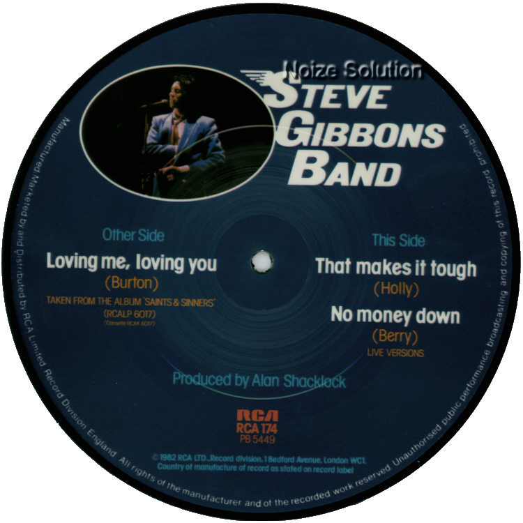 Steve Gibbons Band Loving Me, Loving You 7 inch vinyl Picture Disc Record Side 2.