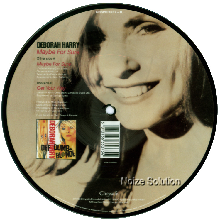 Debbie Harry Maybe For Sure 7 inch vinyl Picture Disc Record Side 2.