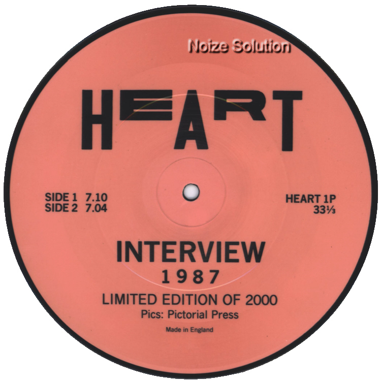 Heart (nancy Wilson) - Interview 7 inch vinyl Picture Disc Record Side 2 HeartHeart.