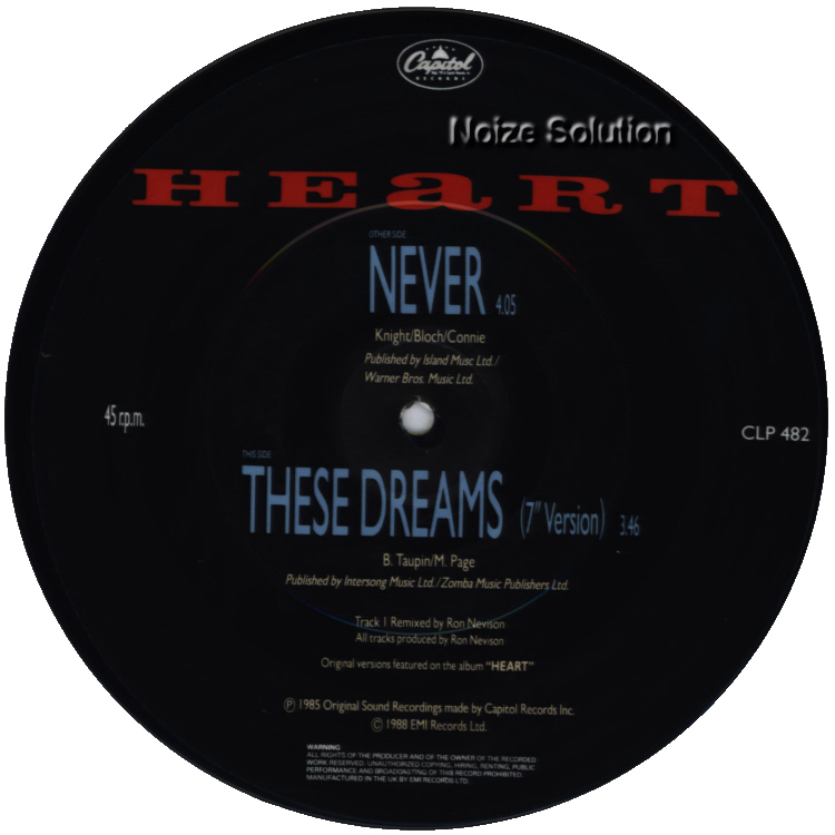 Heart - Never 7 inch vinyl Picture Disc Record Side 2 HeartHeart.
