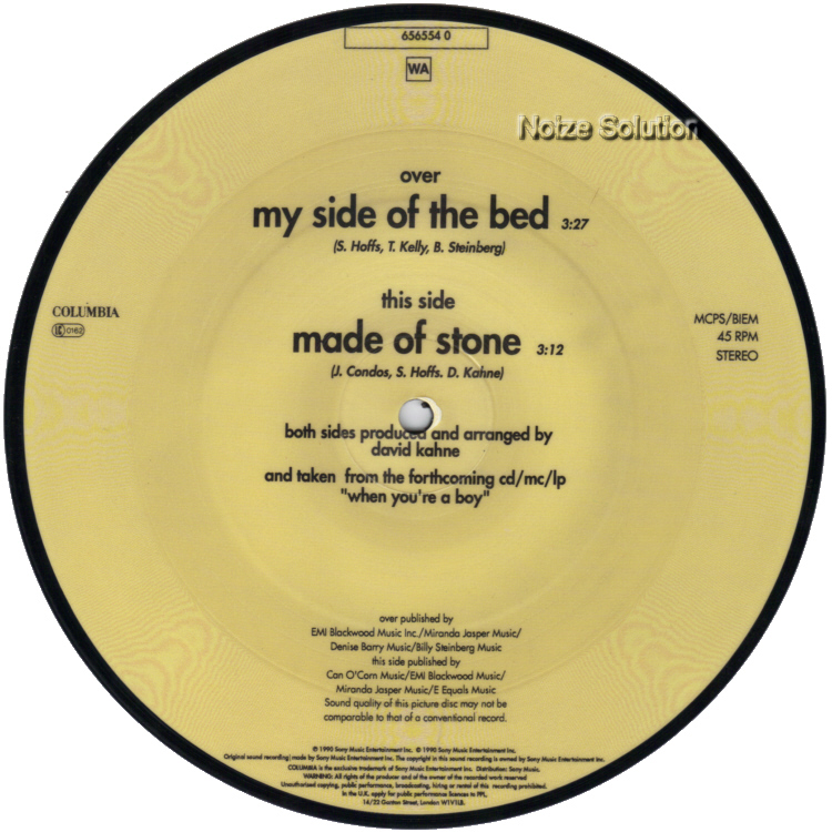 Susanna Hoffs My Side Of The Bed 7 inch vinyl Picture Disc Record Side 2.