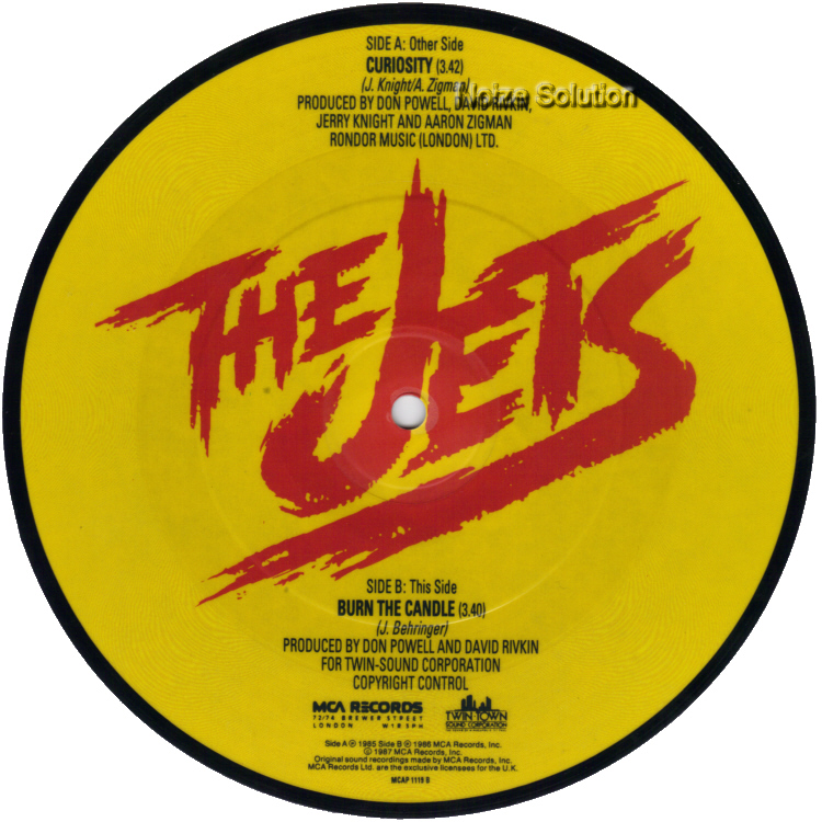 The Jets Curiosity 7 inch vinyl Picture Disc Record Side 2.