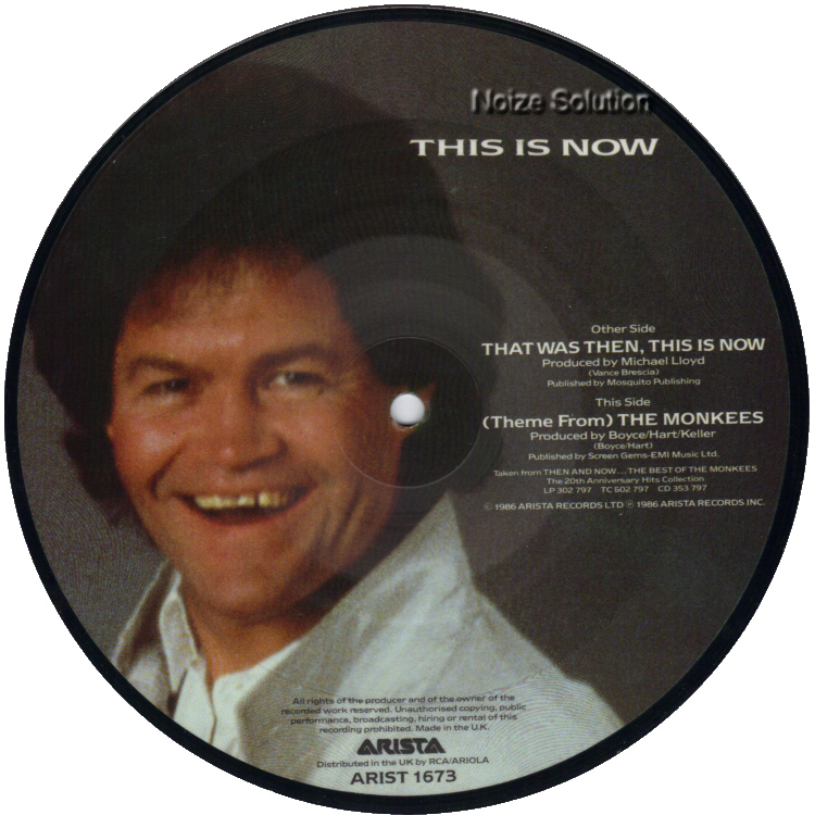 The Monkees Mickey Dolenz - That Was Then This Is Now 7 inch vinyl Picture Disc Record Side 2.