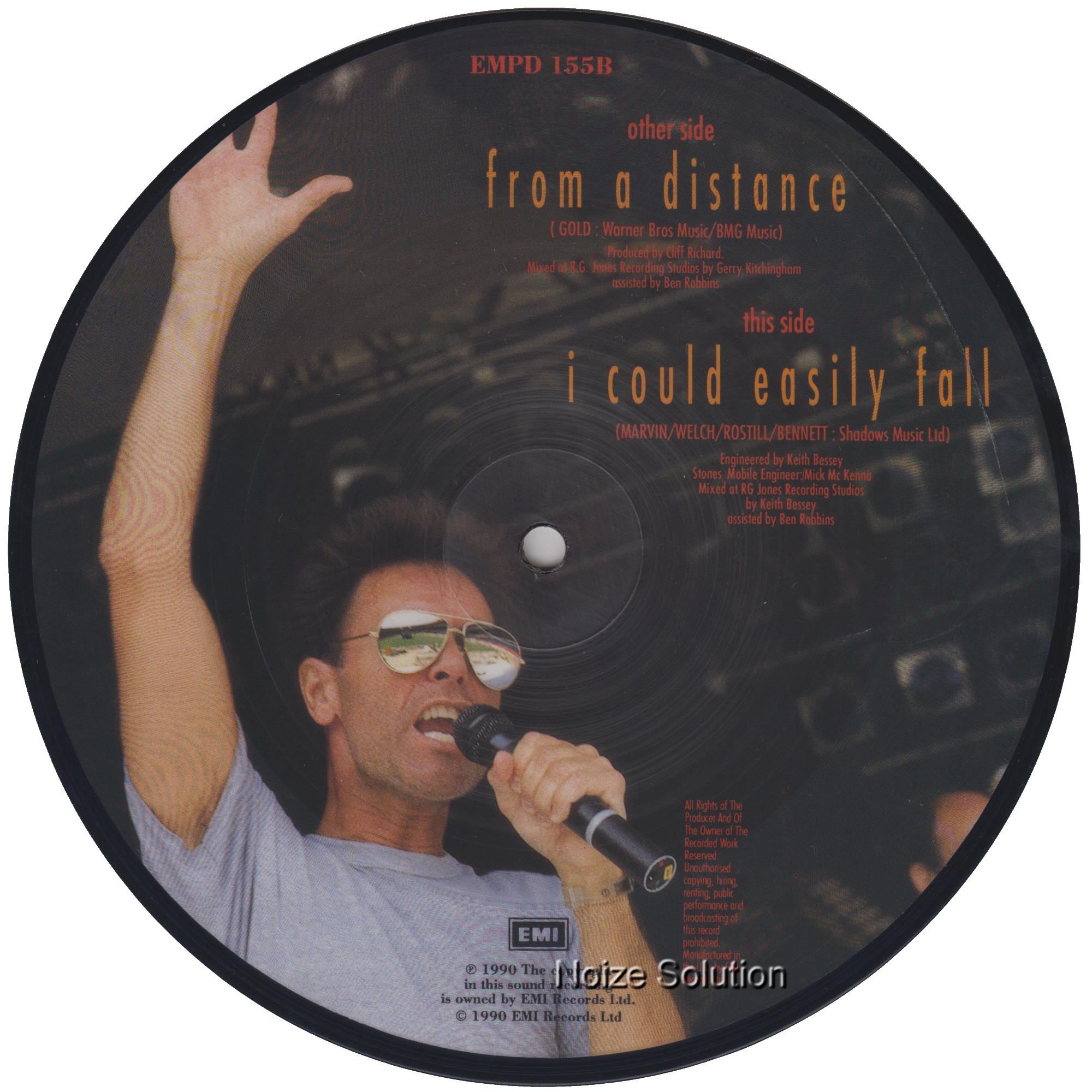 Cliff Richard - From A Distance 7 inch vinyl Picture Disc Record Side 2.