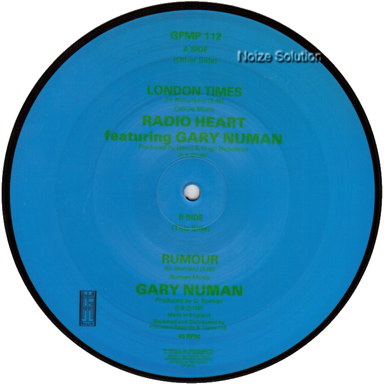 Gary Numan  - Radio Heart London Times 7 inch vinyl Picture Disc Record side 2.