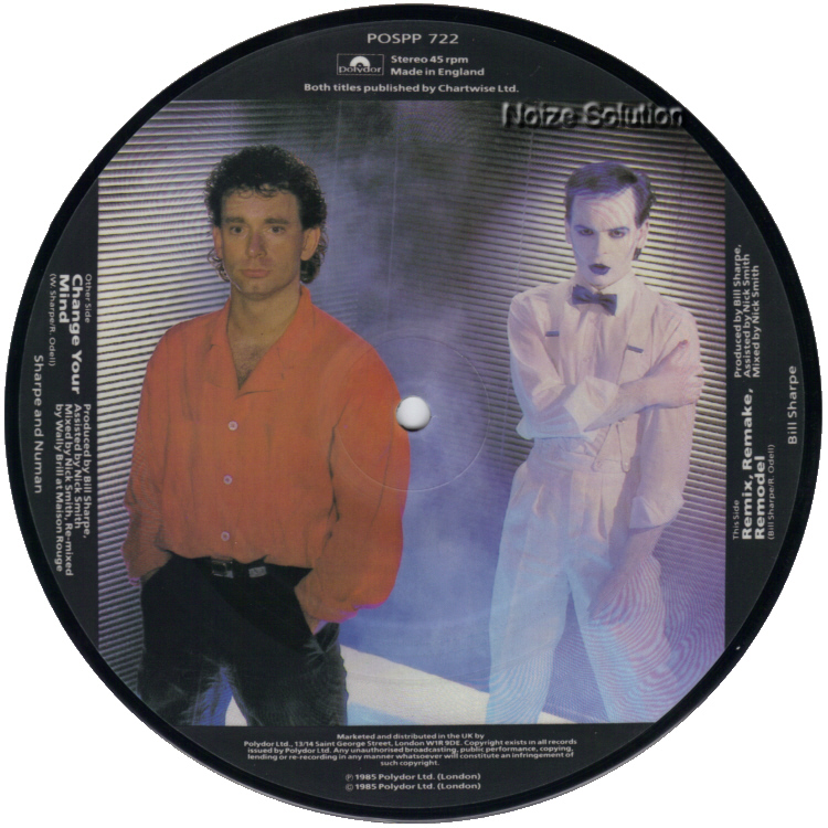 Sharpe and Numan -  Change Your Mind 7 inch vinyl picture disc record side 2.