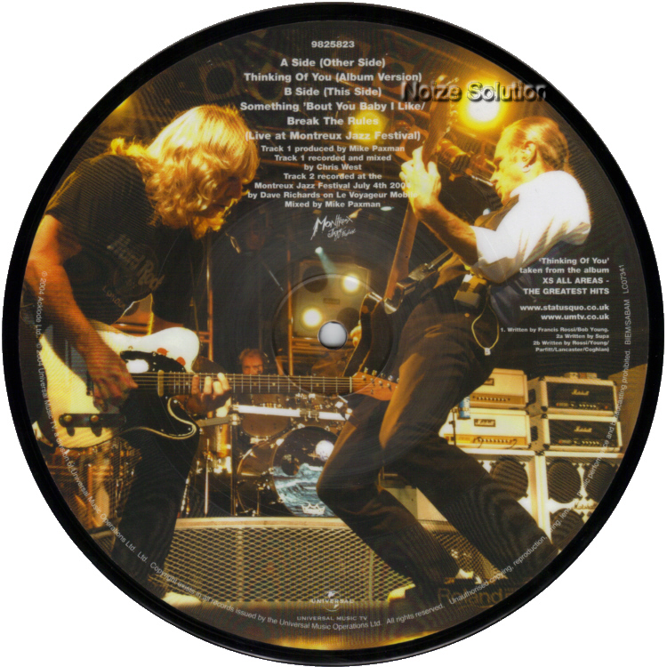 Status Quo - Thinking Of You 7 inch vinyl Picture Disc Record Side 2 StatusQuo.